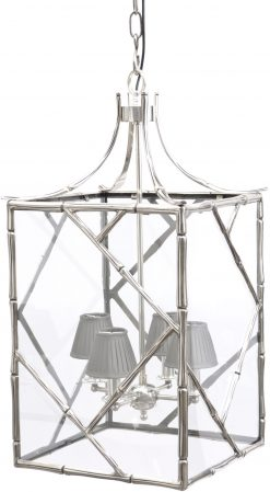 Lantern Chandelier, Silver Bamboo with mid grey shades