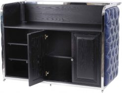 Halcyon Bar Counter Blue Button Leather
