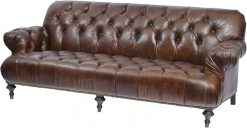 Fitzgerald Vintage Brown Leather Three Seater Sofa