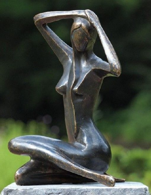 MO 41 Fine Cast Solid Bronze Modern Lady Sitting Down Large Sculpture 39cm 1 | Avant Garden Guernsey