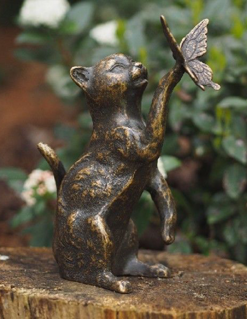 Fine Cast Bronze Cat Playing with Butterfly Statue