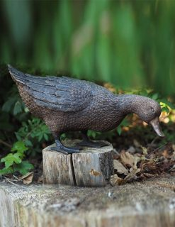 BI 47 Fine Cast Bronze Duck Feeding Sculpture 30cm high | Avant Garden Guernsey