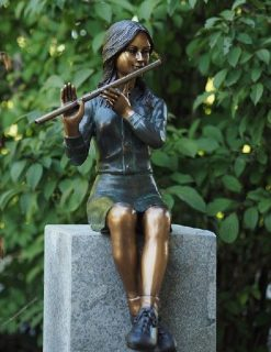FIGI 75 Solid Bronze Fountain Tall Girl Sitting Flautist Sculpture | Avant Garden