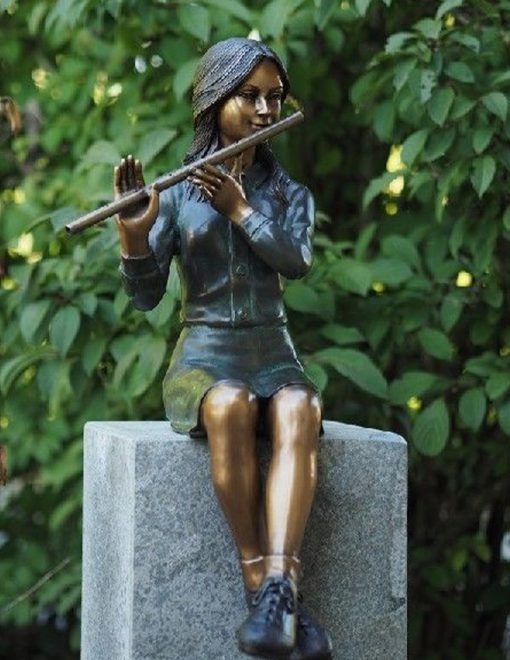 FIGI 75 Solid Bronze Fountain Tall Girl Sitting with Flute Sculpture 1 | Avant Garden