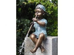 FIBO 7 Solid Bronze Fountain Boy Playing Pipe 2 | Avant Garden