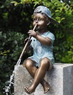 FIBO 7 Fine Cast Solid Bronze Sculpture Boy sitting playing Flute 4 | Avant Garden