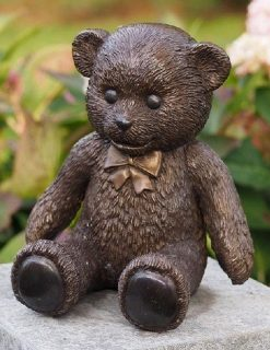 MI 56 Solid Bronze Teddy Bear Large with Bow Tie 1 | Avant Garden