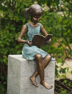 Fine Cast Bronze Sculpture Literary Girl Reading