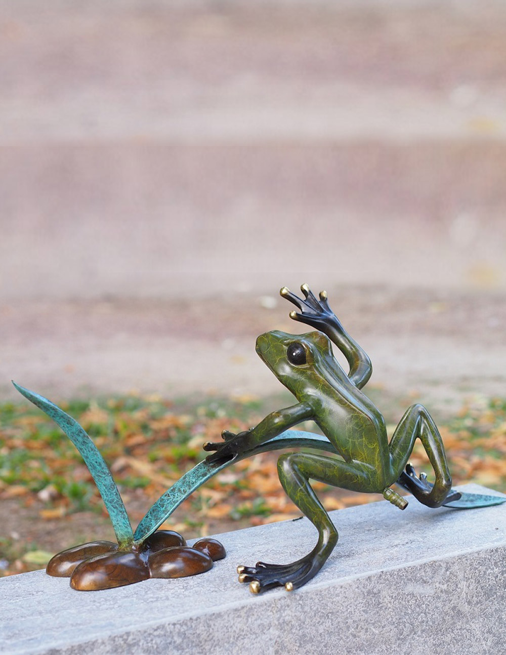 FO 60 Solid Bronze Sculpture Jumping Frog Fountain | Avant Garden Guernsey
