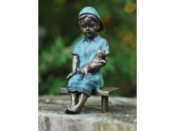 Bronze Sculpture Boy holding Dog 15cm