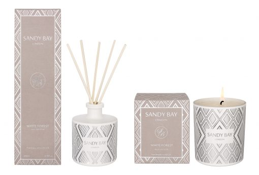 AV001 Sandy Bay London White Forest Candle Reed Diffuser Gift Set