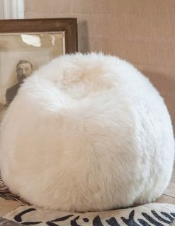 Owen Barry Sheepskin Beanbag Medium Ivory Long Wool Luxe