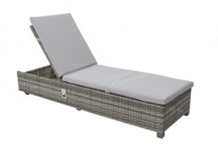 Tarragona Large Sunlounger Camel Resin with All Weather Cushions Carbon