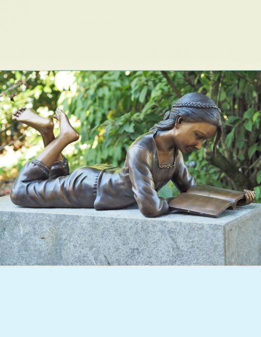 FIGI 60 Solid Bronze Girl Reading Book Sculpture 1 | Avant Garden