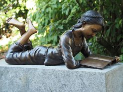 Fine Cast Bronze Girl Reading Book Sculpture