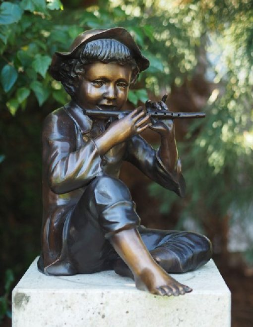 FIBO 25 Bronze Boy Playing With Flute 49x46x38cm | Avant Garden