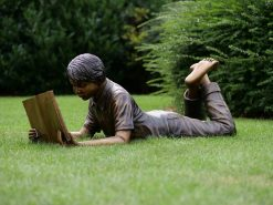 FIBO 2 Solid Bronze Sculpture Boy Reading 3 | Avant Garden
