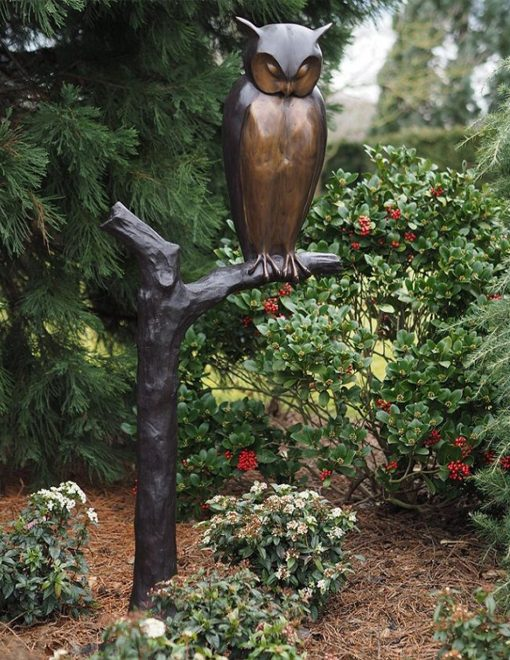 BI 57 Fine Cast Bronze Sculpture Long Eared Owl Smooth 1 Avant Garden