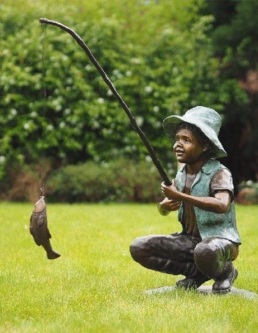 BO 34 Fine Cast Bronze Sculptures Boy Fishing 95cm 1 | Avant Garden Guernsey