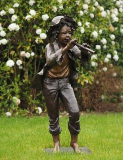 BO 35 Fine Cast Solid Bronze Sculptures Boy Playing The Flute 2 | Avant Garden