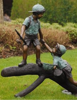 BO 36 Fine Cast Solid Bronze Boys playing Tree trunk Sculpture 2 | Avant Garden
