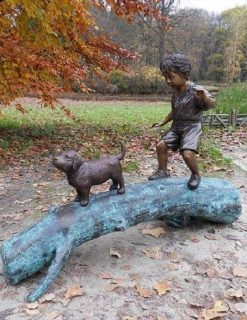 BO 37 Fine Cast Bronze Boy Dog Tree Trunk Sculpture 1 Avant Garden