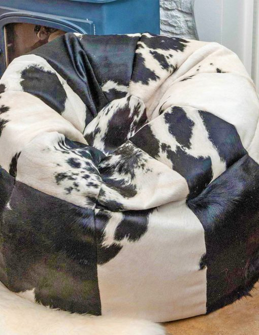 Owen Barry Cowhide Beanbag Luxuriously Large 10 Panel Black & White 1