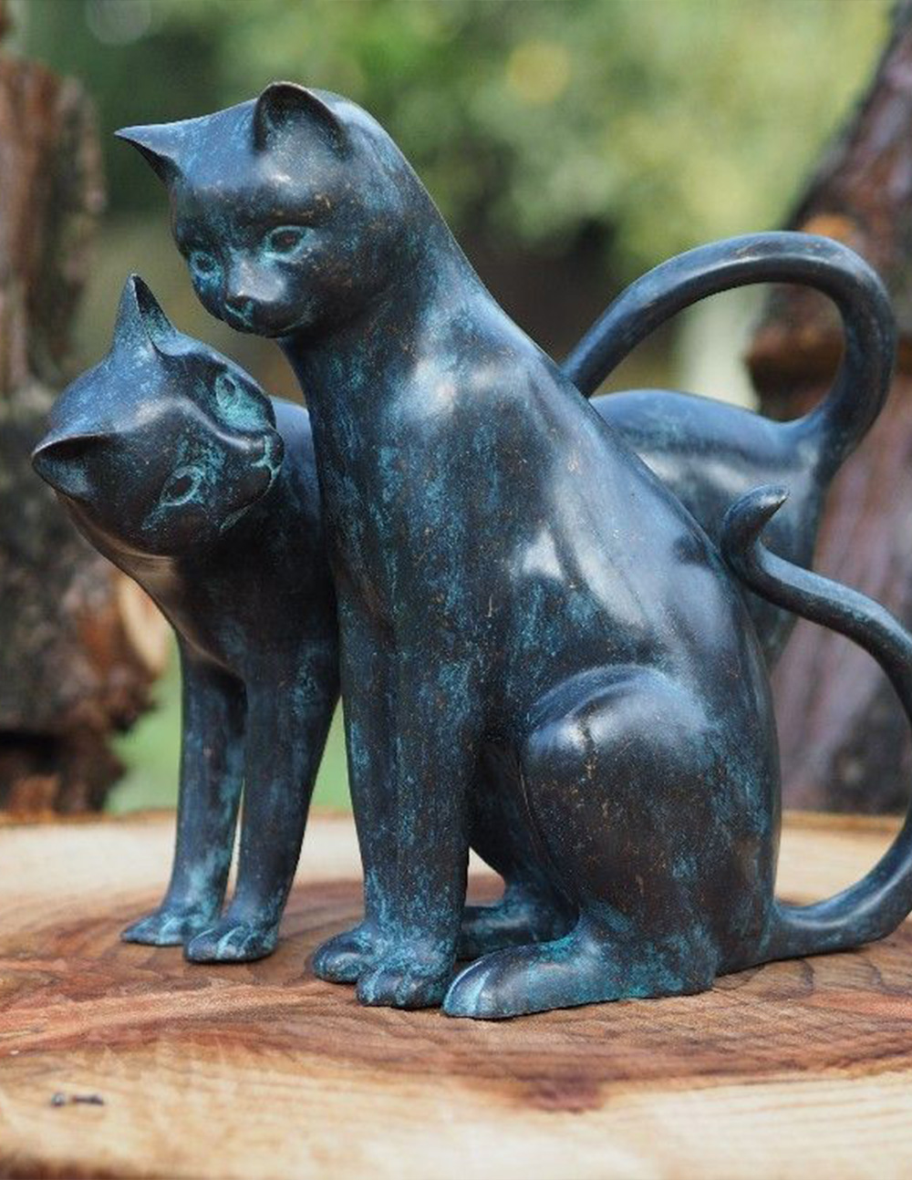 CA 15 Fine Cast Bronze Sculpture Cuddling Cats Two's Company | Avant Garden