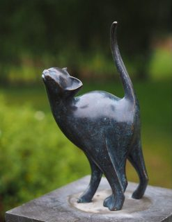 CA 19 Fine Cast Bronze Sculpture Sleek Stretching Cat 1 | Avant Garden