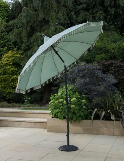 Exotic Fringed Green Garden Parasol 2.7m Dia