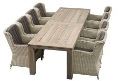 Grenada Weave??8 Chairs, Teak Dining Table 300 Taupe Cushions
