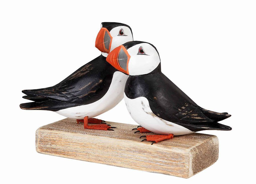 Archipelago puffin block wooden sculpture hand carved fair traded