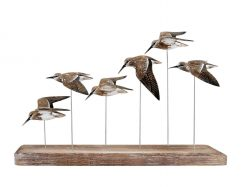 Archipelago Birds Christmas Gift Ideas, Archipelago Dunlin Flock Birds Wooden Sculpture, Every bird is wrapped very carefully with some with their wings up, some down, outspread or tight, beaks up or flying straight ahead. 66cm long