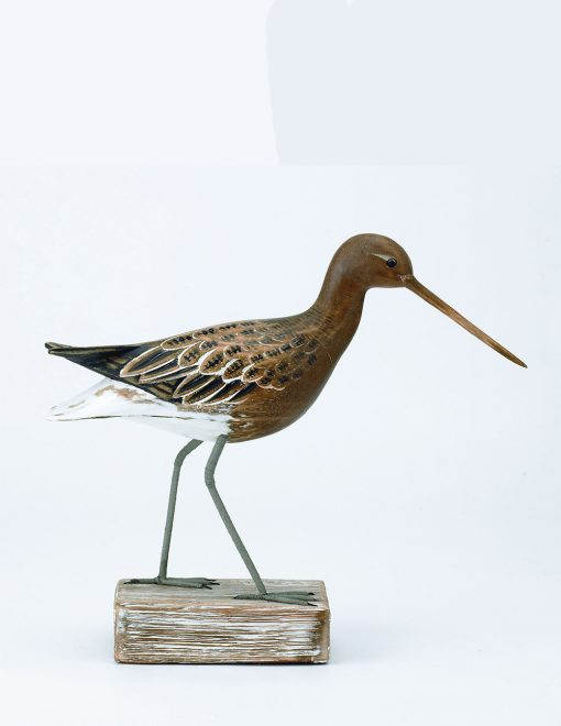 D311 Archipelago Godwit Straight 28cm Hand Carved Wooden Bird Sculpture 1 | Avant Garden
