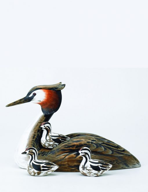 D314 Grebe Mother 3 Chicks 33cm Long Hand Carved Wooden Bird Sculpture 1 | Avant Garden