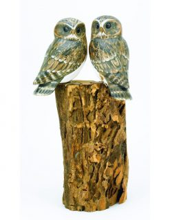 D363 Archipelago Bird Double Little Owl Wooden Sculpture | Avant Garden