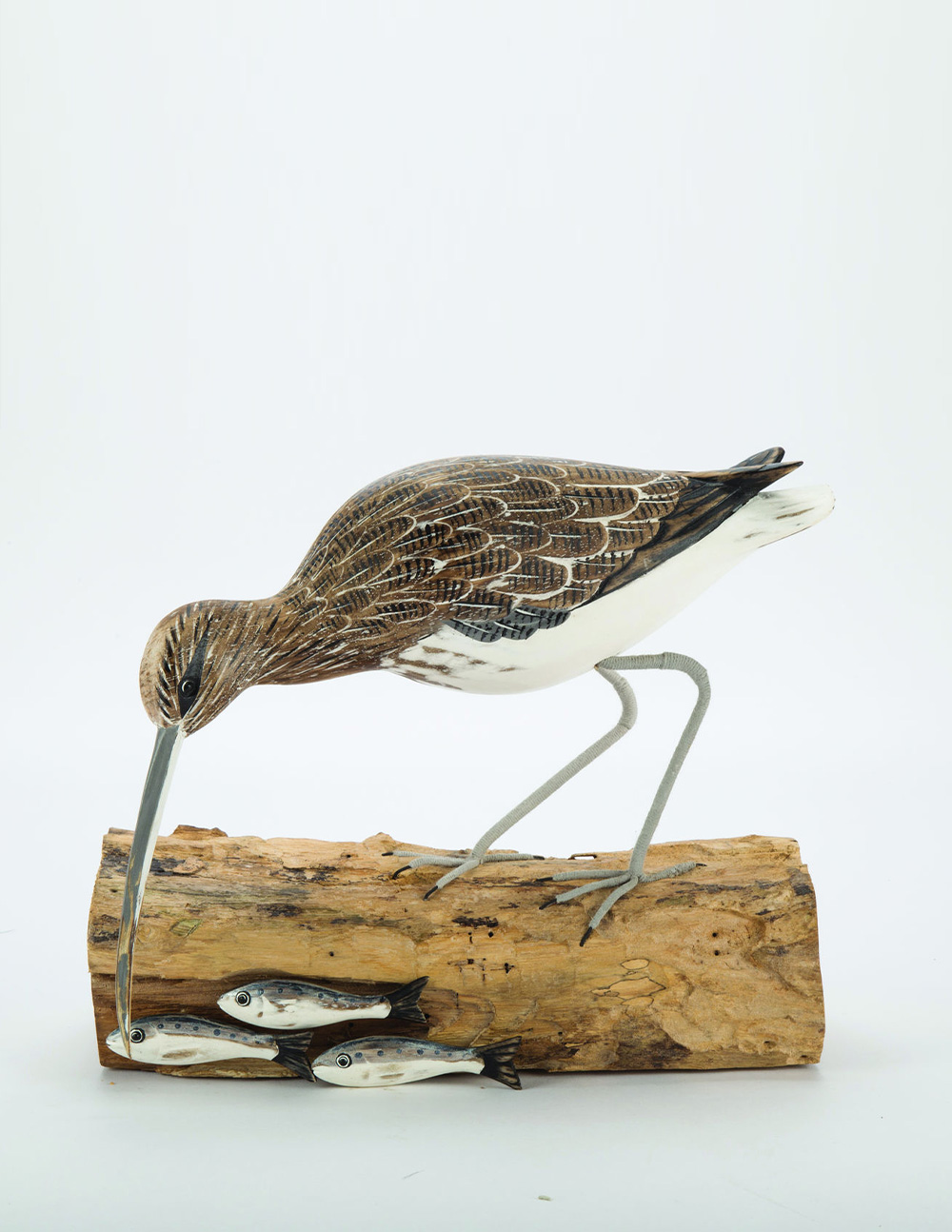 Archipelago Curlew Fishing Wooden Bird Sculpture Fair Traded
