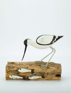 D380 Archipelago Avocet Fishing Bird Wooden Sculpture | Avant Garden