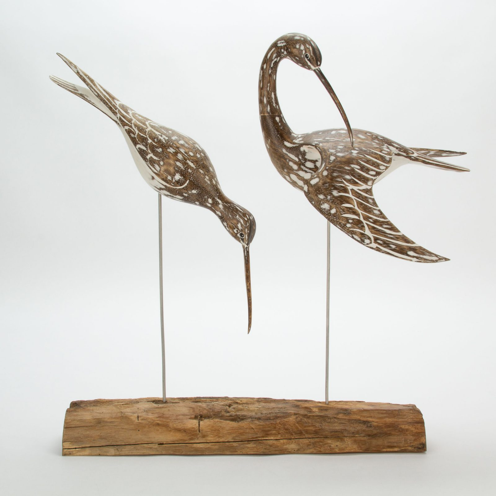 D381 Archipelago Whimbrel Block Bird Wooden Sculpture | Avant Garden