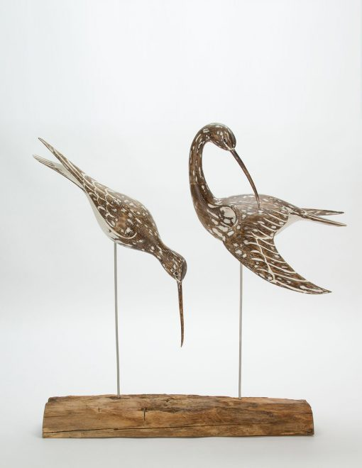 D381 Archipelago Whimbrel Block Wooden Bird Sculpture | Avant Garden