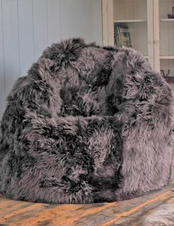Owen Barry Charcoal Luxury Sheepskin Beanbag Large Long Wool Luxe