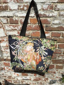 Tote Bag Small Woman with Daisies by Mucha