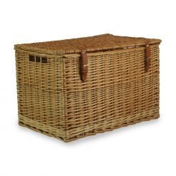 "Harris Chest Hamper 24"" Natural Steamed Willow, Real Tan Leather 