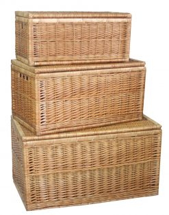 Large Linen Chest (set of three) Natural Full Light Steamed Willow with Integral Handles