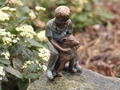 FIBO 19 Fine Cast Bronze Sculpture Boy w Dog 1 Avant Garden Guernsey