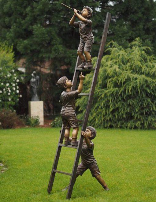 FIBO 22 Fine Cast Bronze Sculpture 3 Boys Ladder 1 Avant Garden Guernsey