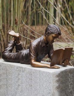 FIBO 23 Fine Cast Bronze Sculpture Boy Reading 1 Avant Garden