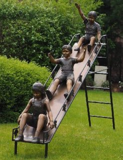 FIBO 26 Fine Cast Solid Bronze Children On Slide Sculpture 1 | Avant Garden