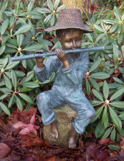 FIBO 31 Fine Cast Solid Bronze Sculpture Boy Playing Pipe Fountain 2 | Avant Garden