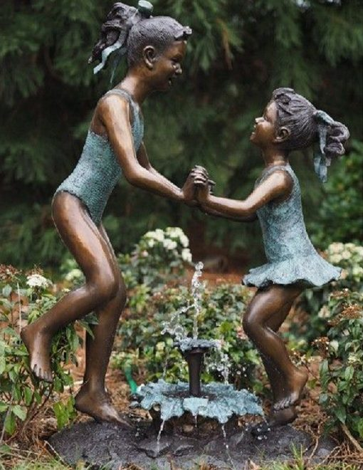 FIGI 57 Fine Cast Solid Bronze Sculpture Girls Watersplash Dancing At Fountain 2 Avant Garden